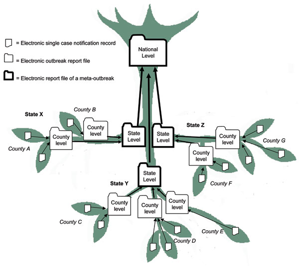 Inverted tree structure for organizing electronic outbreak reporting at different administrative levels.