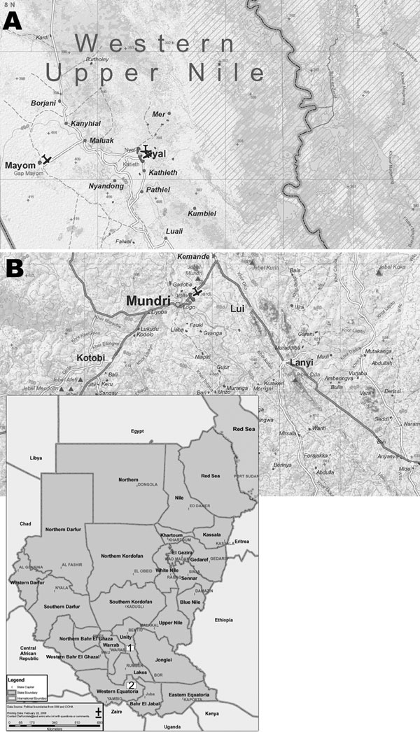 Location of the study areas in Southern Sudan: A) Western Upper Nile; B) West Equatoria Region, Mundri County (source: Centre for Development and Environment, University of Berne, Switzerland; available from www.cde.unibe.ch/sudan/maps), with an inset of the whole country (source: World Health Organization; available from www.emro.who.int/sudan/media/pdf/sud-states-2006.pdf).