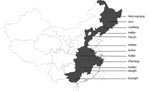 Thumbnail of Geographic distribution of porcine reproductive and respiratory syndrome viruses (PRRSVs) examined in the study. Shaded areas indicate the provinces where the PRRSVs characterized by deletions in Nsp2 were detected.