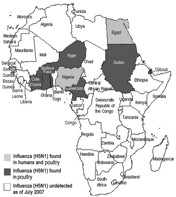 Map of Africa, documenting spread of influenza (H5N1).