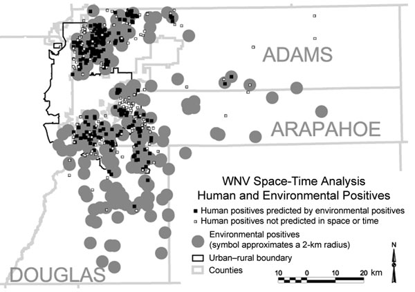 Human infections and positive environmental results, Adams, Arapahoe, and Douglas Counties, Colorado, 2003.