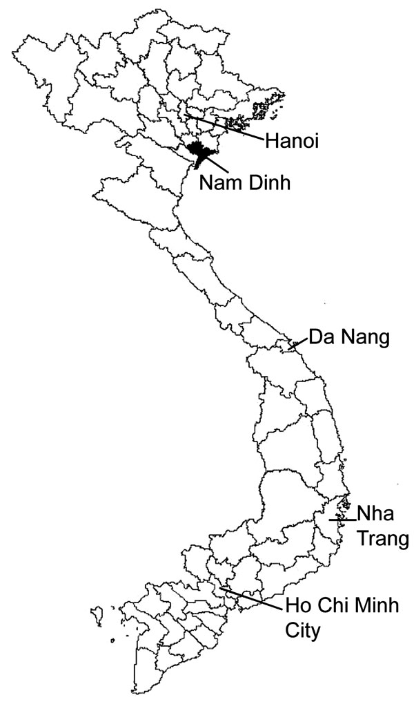 Map of Vietnam showing location of Nam Dinh Province, investigated for fishborne zoonotic trematode infections, April 2005.