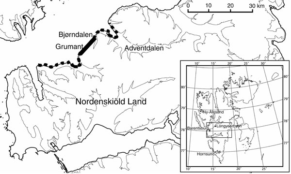 Main study area on the archipelago of Svalbard. Thick solid line, core area for sibling vole; broken line, area of distribution in peak vole year. Inset shows the 4 main settlements on the archipelago of Svalbard.