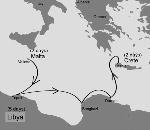 Cruise path on the Mediterranean Sea along the coasts of Crete, Libya, and Malta.