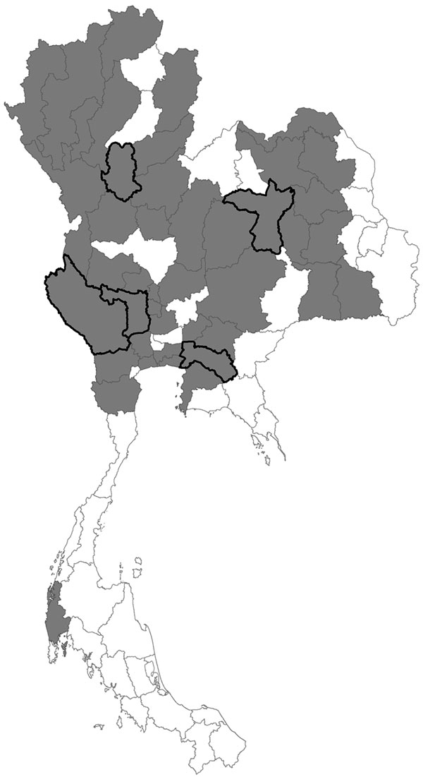 Map of Thailand. Gray shading indicates provinces with confirmed avian influenza outbreaks; black outlines indicate provinces included in this study.