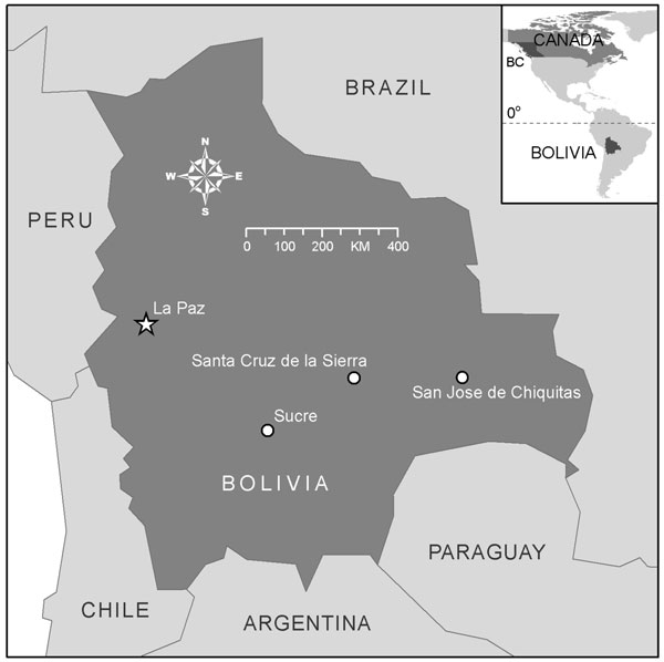 Map of Bolivia with an inset map of North America showing the location of British Columbia (BC) and its relation to Bolivia.
