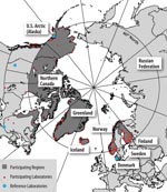Thumbnail of Figure 2 - The International Circumpolar Surveillance system participating regions (dark gray), laboratories (small dots), and reference laboratories (large dots).