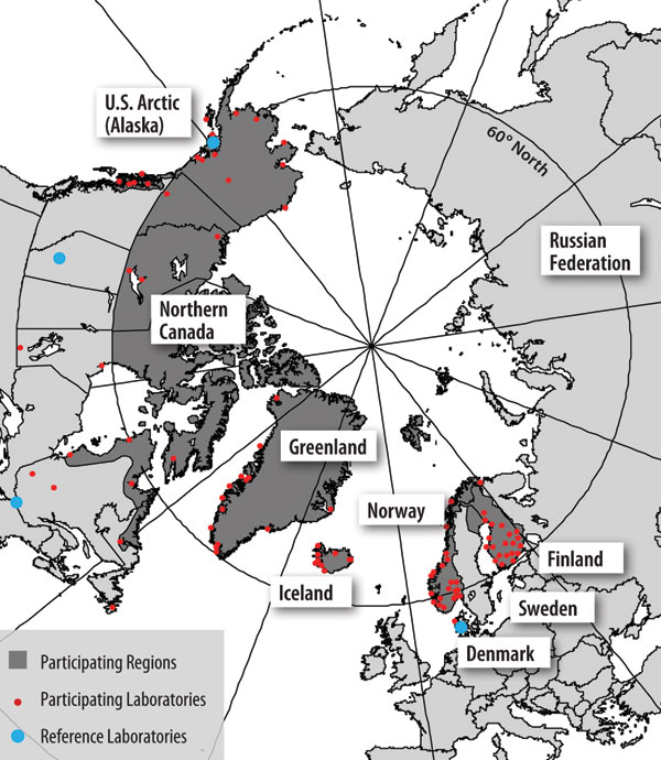 Figure 2 - The International Circumpolar Surveillance system participating regions (dark gray), laboratories (small dots), and reference laboratories (large dots).