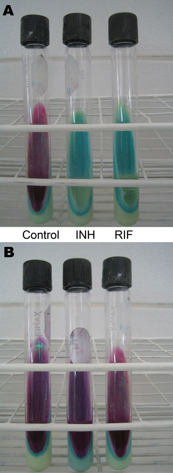 Description and costs of the direct Griess method in Peru. A) Pan-susceptible Mycobacterium tuberculosis isolate. B) M. tuberculosis isolate resistant to isoniazid (INH) and rifampin (RIF). The left (control) tube in panel A and all tubes in panel B indicate mycobacterial growth. The costs of the test are US $5.30 per sample, including personnel, materials (items that can be reused), and supplies (reagents and consumable items), and US $4.80 per sample, including materials and supplies.