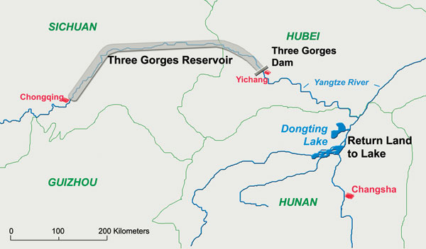 Location of the Three Gorges Dam and Reservoir across the Yangtze River and Return Land to Lake Program in the Dongting Lake region, Hunan Province, China.
