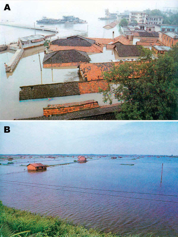 A) Submerged township houses in the Dongting Lake area due to the flood of 1998. B) An inundated rural area in 1998.