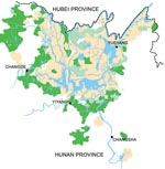 Thumbnail of Hunan Province in 2002, showing that schistosomiasis is mainly confined to the area surrounding Dongting Lake. Areas in beige are classified as endemic for schistosomiasis. Areas in light green have fulfilled the transmission control criteria and are characterized by schistosomiasis infection rates <1% for humans and animals and a snail habitat reduction of >98%. Areas in dark green have fulfilled the criterion of interrupted transmission, which means that no new human or animal schistosomiasis cases occurred in successive years, and no snails were found for >1 year.