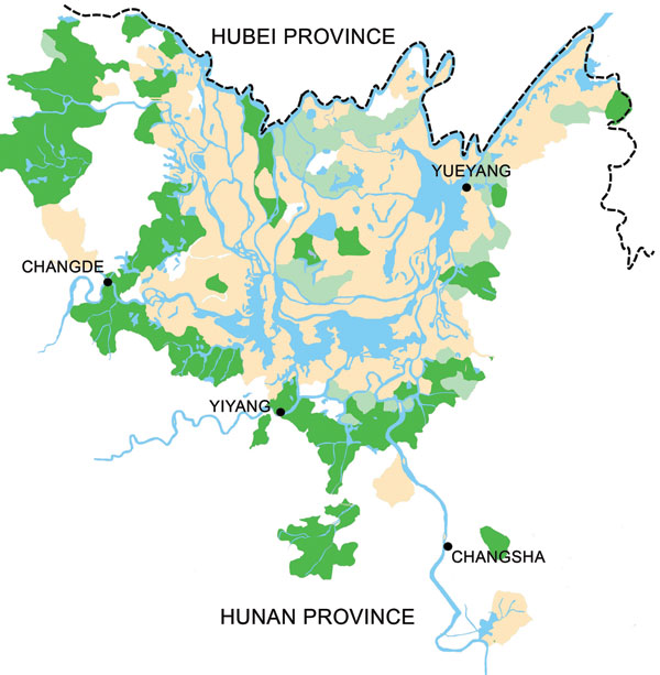 Hunan Province in 2002, showing that schistosomiasis is mainly confined to the area surrounding Dongting Lake. Areas in beige are classified as endemic for schistosomiasis. Areas in light green have fulfilled the transmission control criteria and are characterized by schistosomiasis infection rates <1% for humans and animals and a snail habitat reduction of >98%. Areas in dark green have fulfilled the criterion of interrupted transmission, which means that no new human or animal schistosomiasis cases occurred in successive years, and no snails were found for >1 year.