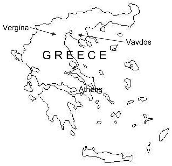 Map of Greece showing location of Vergina and Vavdos villages.