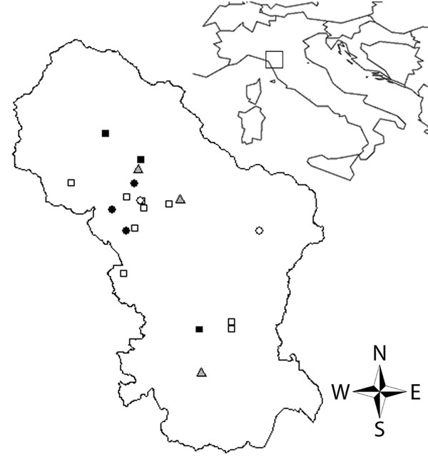 Distribution of tick-borne lymphadenopathy cases in Tuscany, Italy. Circles indicate cases, squares indicate patients bitten by Dermacentor marginatus who were not classified as case-patients, and triangles indicate emergency units. Negative (white symbols) and positive (dark symbols) PCR results for spotted fever group rickettsiae are indicated.