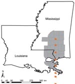Thumbnail of Hurricane Katrina track and hurricane-affected Louisiana parishes and Mississippi counties. Affected parishes and counties (gray) were defined as those in which >50% of the total area was <50 miles of the hurricane track coordinates.