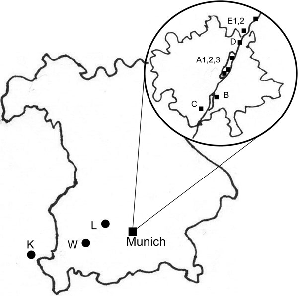 Location of collection sites. Large map, Bavaria, Germany; circled inset, city of Munich (with the Isar River). Sites in Munich area: A1, 2, 3, English Garden park; B, city park; C, D, E1, 2, riparian and deciduous forest; K, L, W, mixed forest areas outside of Munich.