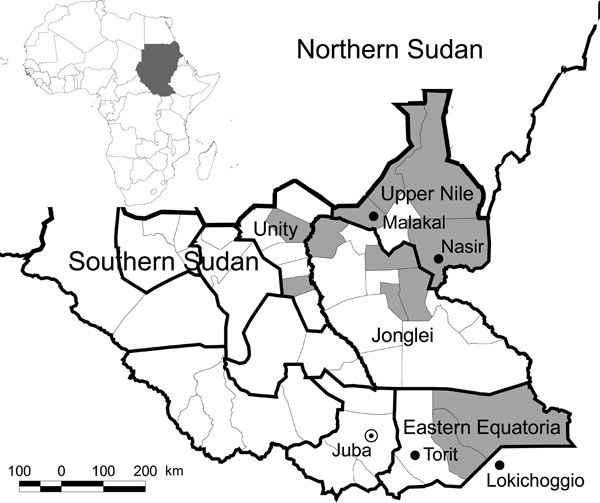 Map of Southern Sudan showing the 2 foci of visceral leishmaniasis. Shaded areas represent those counties where primary cases were reported from January through June 2007. Inset shows location of Sudan in Africa. (Adapted from World Health Organization, Southern Sudan Health Update, July–August 2007.)