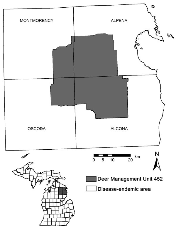 Coyote study area in Montmorency, Alpena, Alcona, and Oscoda Counties in the northeastern Lower Peninsula of Michigan, United States.