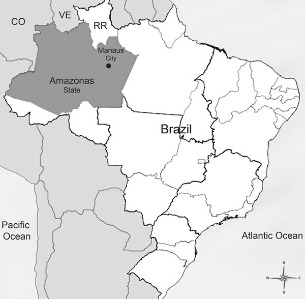 Location of Amazonas State and Manaus City, Brazil. CO, Colombia; VE, Venezuela; RR, State of Roraima.