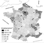 Thumbnail of Map of France, showing spatial distribution of Yersinia pseudotuberculosis infections during the winter of 2004–05. Black circles, patients' residences; open circles, cities with medical laboratories that stated that they had not isolated any Y. pseudotuberculosis from clinical specimens.