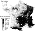 Thumbnail of County distribution, France, of Yersinia pseudotuberculosis isolated from human blood and reported to the Yersinia National Reference Laboratory over the 16 years preceding the winter of 2004–05. The number of isolates is represented by proportionally sized circles arbitrarily located at the center of the counties.