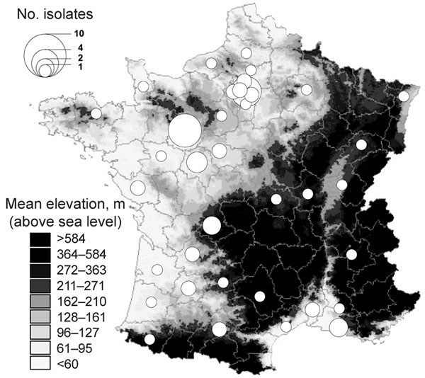 County distribution, France, of Yersinia pseudotuberculosis isolated from human blood and reported to the Yersinia National Reference Laboratory over the 16 years preceding the winter of 2004–05. The number of isolates is represented by proportionally sized circles arbitrarily located at the center of the counties.