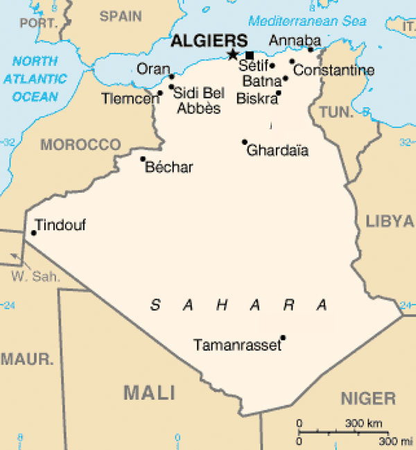 Map of Algeria showing where sandflies were trapped (■).