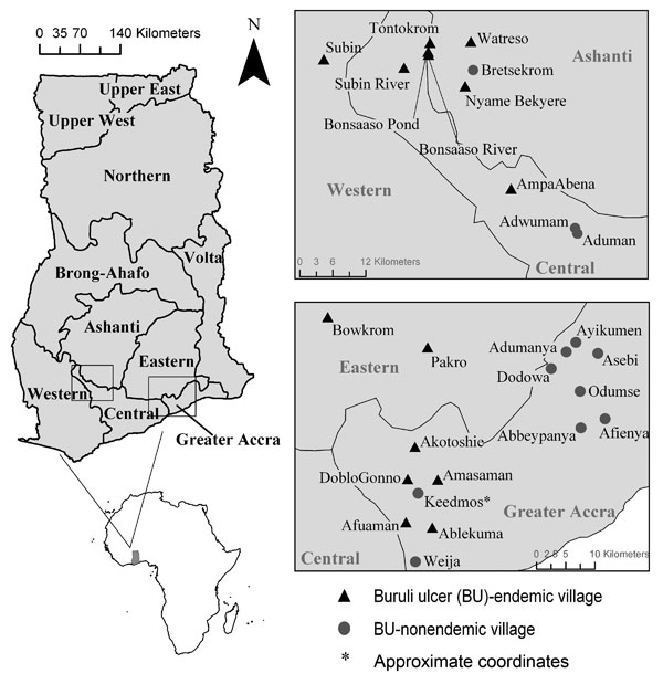 Figure 1 - Regional site map of water bodies sampled in Ghana for aquatic invertebrates during 2004, 2005, or both. Small maps on left show location of Ghana in Africa and location of regions sampled within Ghana (boxes).