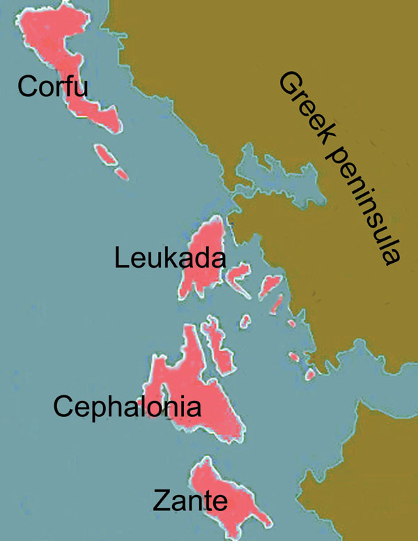 The 4 large Ionian Islands, which were under Venetian rule, and the Greek peninsula, which was under Ottoman rule, during the period studied (17th and 18th centuries).