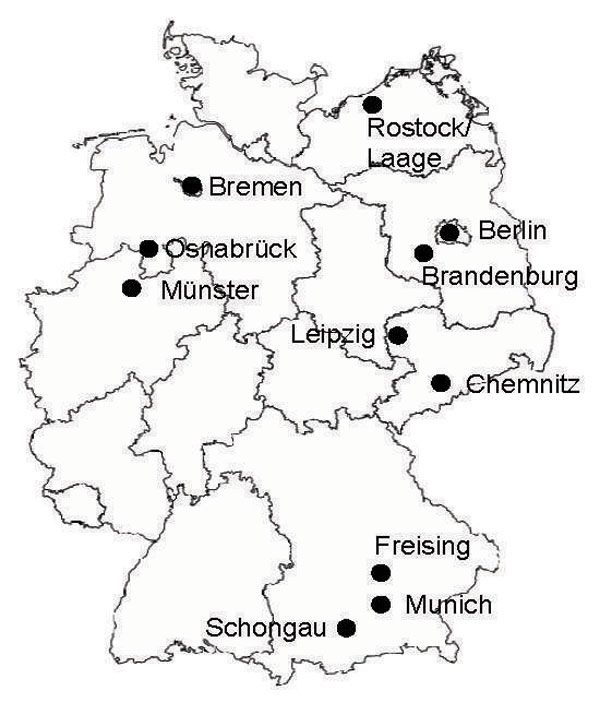 Locations of the 11 flea-collection study sites in Germany, 2007.