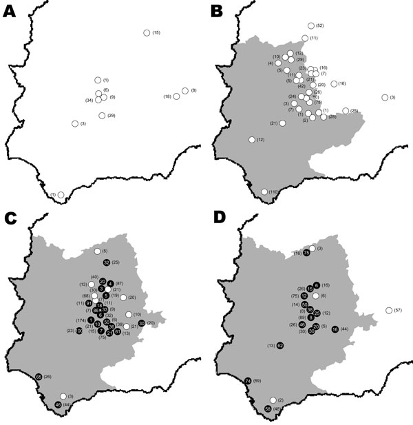 Study areas in Spain showing wild ruminant sampling sites by study year. A) 2003–2004; B) 2004–2005; C) 2005–2006; D) 2006–2007. A year is defined as the period July–June. Animal movement restriction areas for each year (www.mapa.es) are shown (gray areas). White dots show wild ruminant seronegative sampling sites, and black dots show level of bluetongue virus seroprevalence in wild ruminants. Numbers of sampled wild animals per sampling site are shown in parentheses.