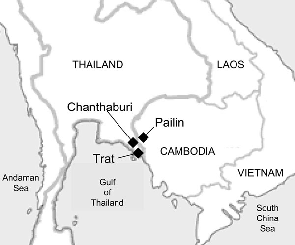 Map of the Cambodia–Thailand border showing the town of Pailin, Cambodia, and the provinces of Chanthaburi and Trat, Thailand; the areas are collectively known as the epicenter of drug-resistant malaria.