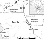 Thumbnail of Locations in Democratic Republic of Congo (DRC) (Kasongo-Lunda) and Angola (Kafufu/Luremo) where 3 patients with Buruli ulcer were detected.