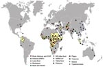 Thumbnail of Geographic distribution of recent emerging or reemerging infectious disease outbreaks and countries affected by conflict, 1990–2006. Countries in yellow were affected by conflict during this period (source: Office for the Coordination of Humanitarian Affairs, World Health Organization, www.reliefweb.int/ocha_ol/onlinehp.html). Symbols indicate outbreaks of emerging or reemerging infectious diseases during this period (source: Epidemic and Pandemic Alert and Response, World Health Organization, www.who.int/csr/en). Circles indicate diseases of viral origin, stars indicate diseases of bacterial origin, and triangles indicate diseases of parasitic origin. CCHF, Crimean-Congo hemorrhagic fever; SARS-CoV, severe acute respiratory syndrome coronavirus