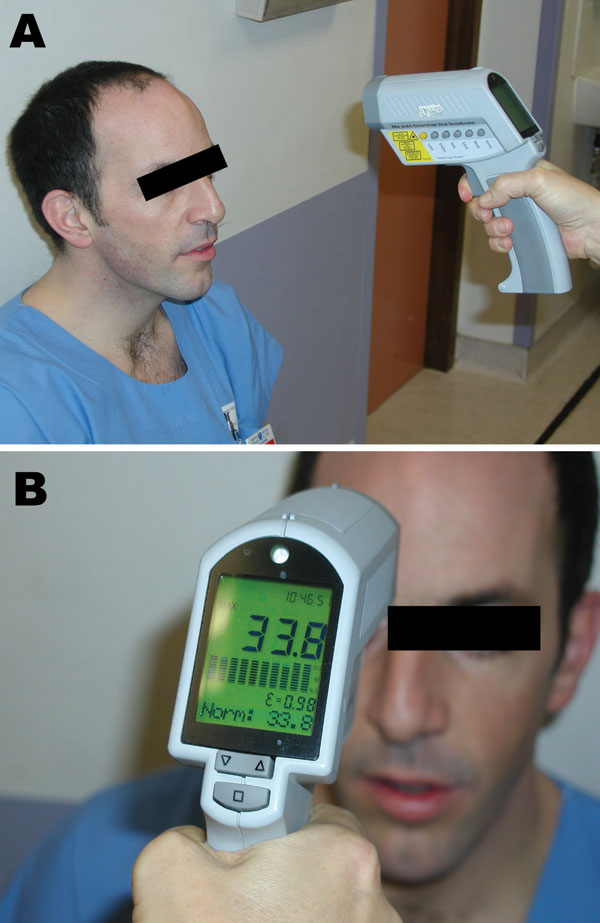Figure 1 - Measurement of cutaneous temperature with an infrared thermometer. A) The device is placed 20 cm from the forehead. B) As soon as the examiner pulls the trigger, the temperature measured is shown on the display. Used with permission.