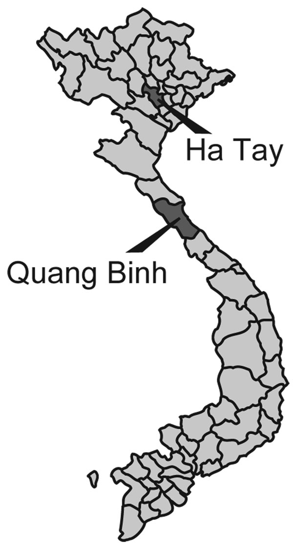 Figure 1 - Mosquito collection sites in Vietnam.