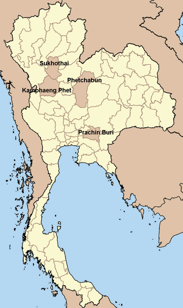 Province location of study villages with laboratory-confirmed avian influenza A (H5N1) cases in humans, Thailand, 2004. (Adapted from http://commons.wikimedia.org/wiki/Image:BlankMap_Thailand.png)