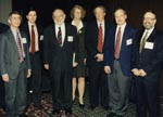 Thumbnail of Keynote speakers at the inaugural International Conference on Emerging Infectious Diseases in Atlanta, March 8–11, 1998. Left to right: Anthony Fauci, David Heymann, Joshua Lederberg, Claire Broome, James Hughes, Guthrie Birkhead, D. Peter Drotman.