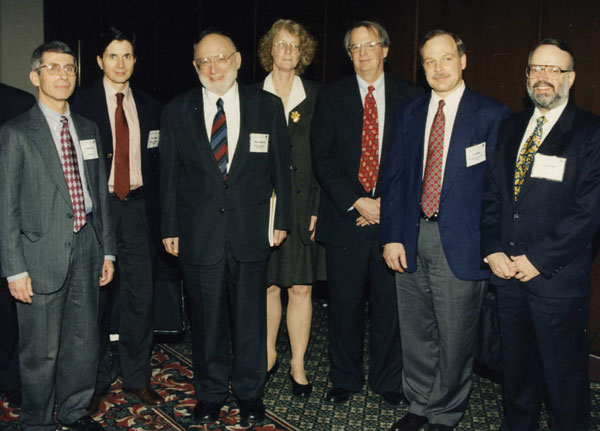 Keynote speakers at the inaugural International Conference on Emerging Infectious Diseases in Atlanta, March 8–11, 1998. Left to right: Anthony Fauci, David Heymann, Joshua Lederberg, Claire Broome, James Hughes, Guthrie Birkhead, D. Peter Drotman.