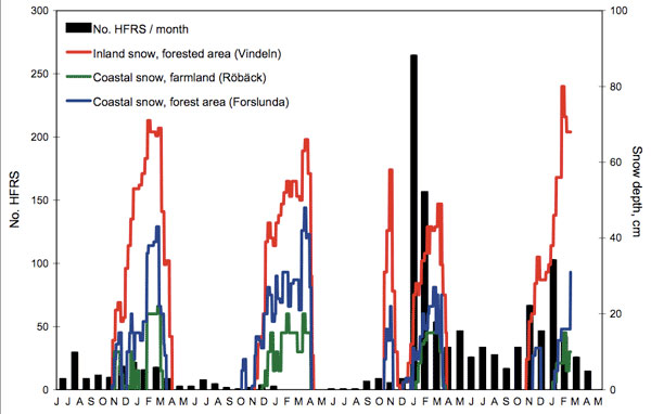 Human cases of hemorrhagic fever with renal syndrome (HFRS) per month from HFRS-endemic Västerbotten County, Sweden, July 2004 through June 2008, and measured snow depth at 3 locations through February 2008. The season 2004–05 represents the most recent epidemic peak year, before the large outbreak of 2006–07; 2005–06 represents an ordinary low-incidence season. The exceptional increase of HFRS cases in midwinter 2006–07 followed a rapid snowmelt and complete loss of protective snow cover to the