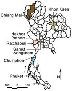 Thumbnail of Provinces of Thailand showing study sites in Phuket, Chiang Mai, Ratchaburi, Nakhon Pathom, Khon Kaen, Chumphon, and Samut Songkham.