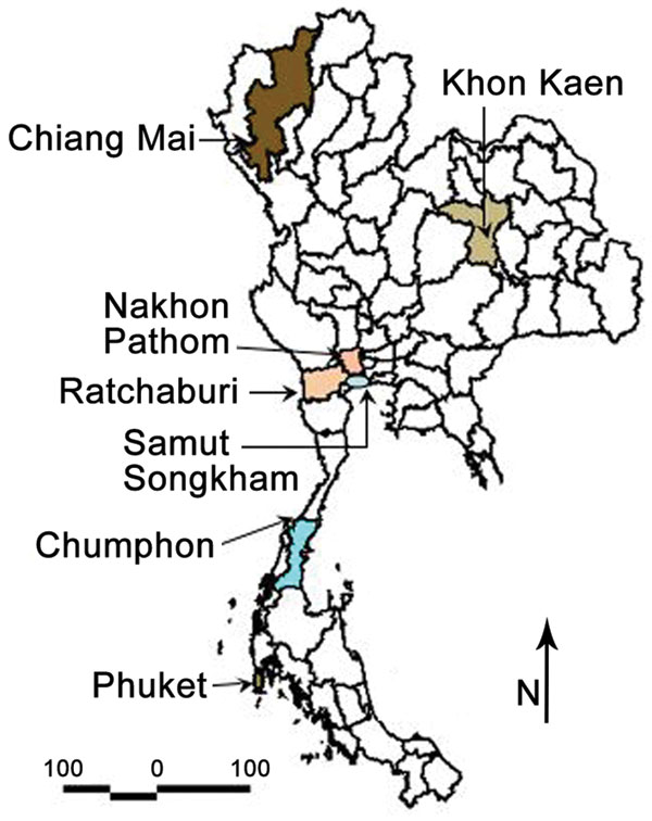 Provinces of Thailand showing study sites in Phuket, Chiang Mai, Ratchaburi, Nakhon Pathom, Khon Kaen, Chumphon, and Samut Songkham.