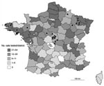 Thumbnail of Distribution of cats analyzed during 2004–2007 and of bats found positive for European bat lyssavirus (EBLV) in France during 1989–2007. Distribution of 1,506 cats tested during 2004–2007 by direct immunofluorescence antibody test, rabies tissue culture infection test, and an antigen-capture ELISA is given by district. Precise location of the 2 infected index (positive) cats and positive bats (n = 32) are indicated by circles and triangles, respectively, and associated with numbers