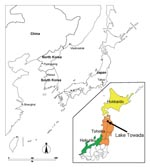 Thumbnail of Map of Japan and nearby countries, with enlargement of the northern part of the country (inset) showing location of Lake Towada.