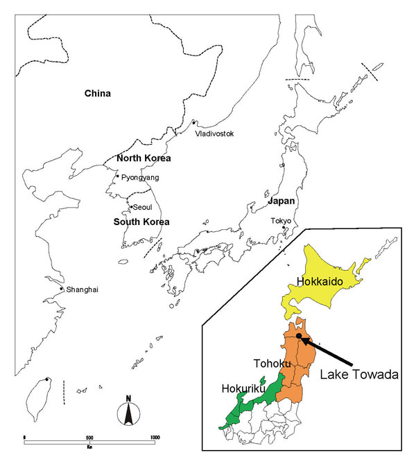 Map of Japan and nearby countries, with enlargement of the northern part of the country (inset) showing location of Lake Towada.