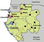 Thumbnail of Chikungunya and dengue outbreaks in Gabon, 2007. Distribution of the outbreak and location of the 7 towns where suspected cases have been laboratory confirmed by using quantitative reverse transcription–PCR assay are shown. Chikungunya cases are represented by red circles, dengue cases by blue circles, and cases negative for the viruses by green circles. Testing methods are described in the footnote to the Table.