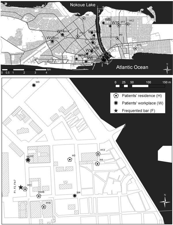 Maps showing residences and workplaces of Mycobacterium tuberculosis patients in Xwlacodji, Cotonou, Benin, 2005–2006.