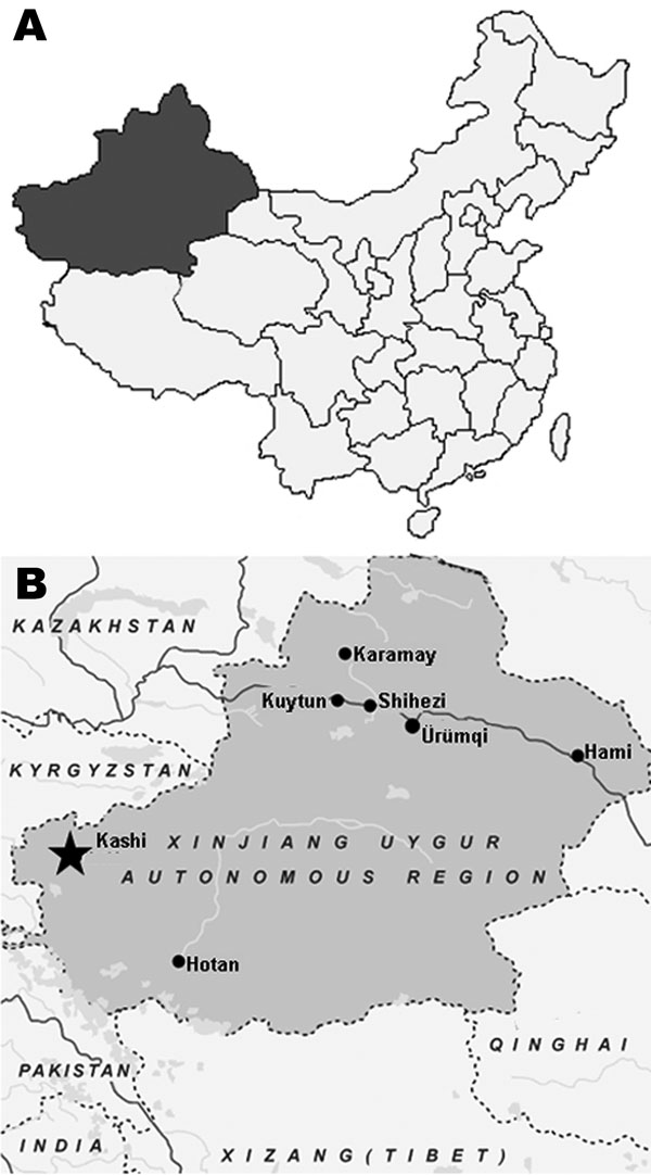 A) Map of China showing location of Xinjiang Uygur Autonomous Region. B) Map of Xinjiang Uygur Autonomous Region showing Kashi region (star), where Tahyna virus XJ0625 was isolated from a pool of Culex spp. mosquitoes.