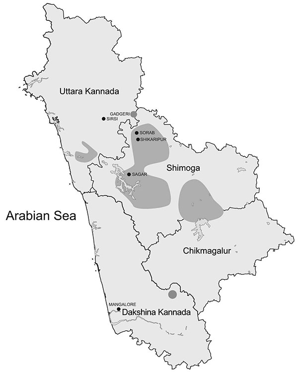 Areas of Karnataka State, India, known to be affected by Kyasanur Forest disease (dark gray shading).